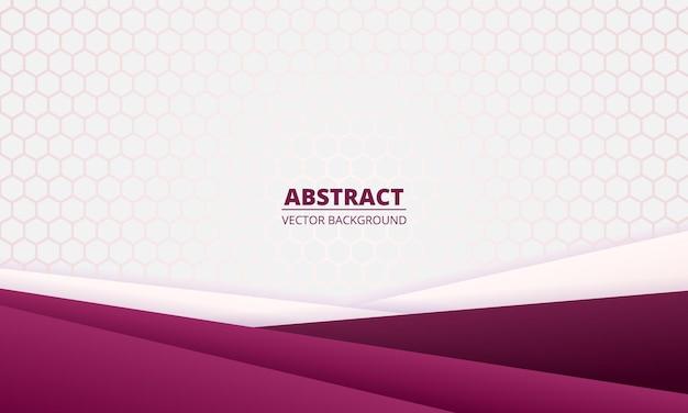 Lichte abstracte achtergrond met diagonale paarse kleurovergang papier lijnen en zeshoekig raster