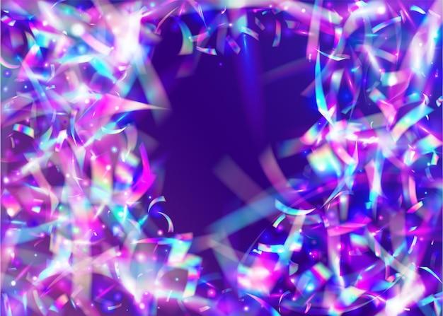 Lichte achtergrond. caleidoscoop confetti. roze feesteffect. lasercarnaval serpentine. neontextuur. glamour kunst. vervagen flare. kristal folie. paarse lichte achtergrond