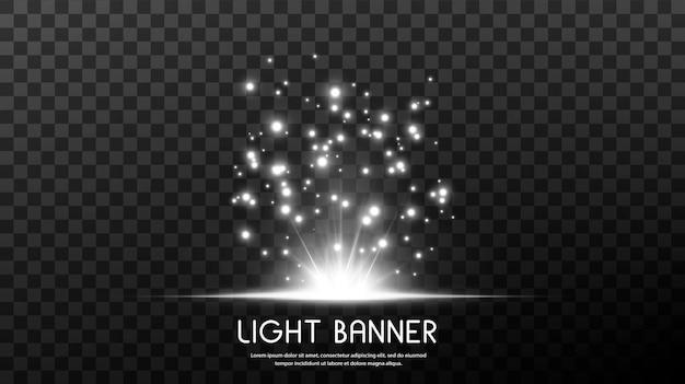 Lichte banner met kleine sprankelende stofdeeltjes en sterren.