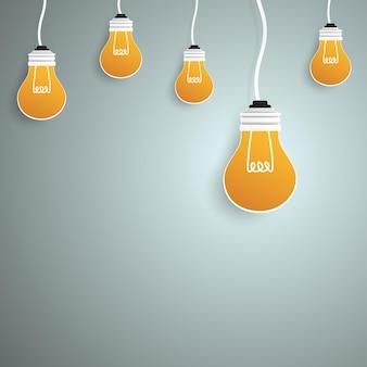 Lichte blub voor ideeconcept in papierkunststijl