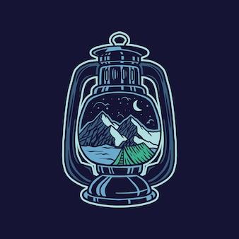 Lichte camping illustratie en t-shirtontwerp