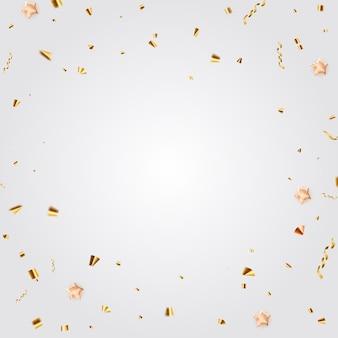 Lichte feestvakantie achtergrond met gouden confetti. vectorillustratie