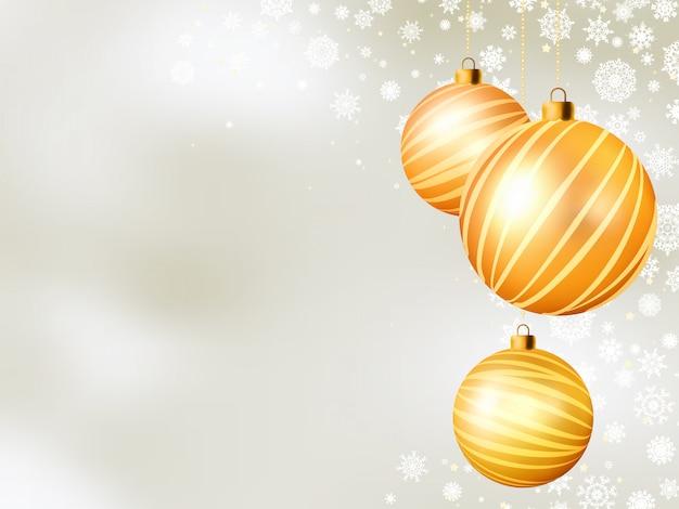 Lichte kerst achtergrond met vijf ballen. bestand opgenomen