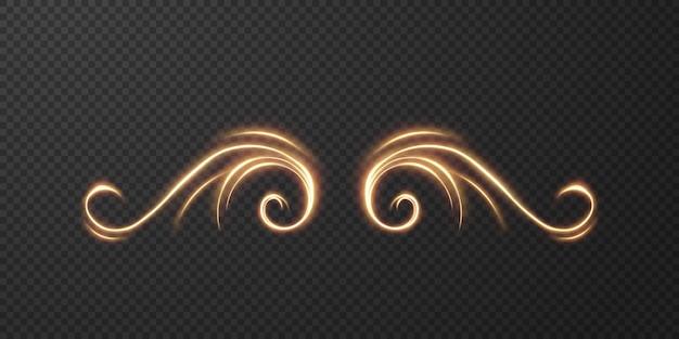 Lichte realistische curve. magisch sprankelend gouden gloedeffect.