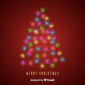 Lichte slinger kerstboom achtergrond