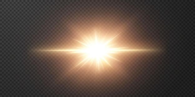 Lichte ster op een transparante zwarte achtergrond