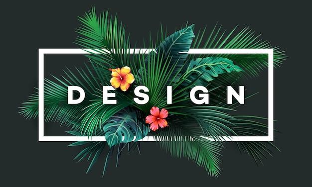 Lichte tropische achtergrond met jungle planten. exotisch patroon met palmbladeren.