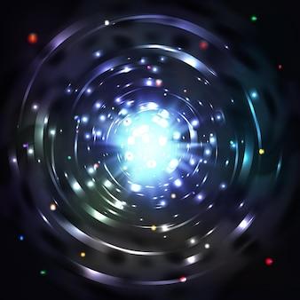 Lichte tunnel of lichte werveling. wervel gloeiende tunnel en bewegingsdraaikolk in kosmische tunnel