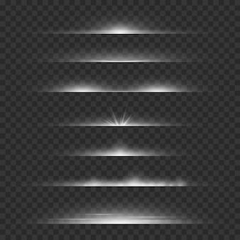 Lichte verdelers. lijn flare gloeiende randen, witte horizontale balken.