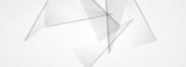 Lichte vormen business vector panoramisch grijze achtergrond. dynamische sjabloon. transparante technologie driehoek lay-out. grafisch certificaat.