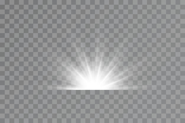 Lichteffect bright star light explodeert op een transparante achtergrond felle zon
