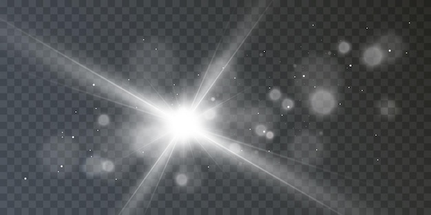 Lichteffect flare van de lens ster stralen schittering vector