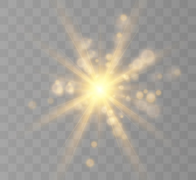 Lichteffect flits knippert met stralen en spotlight geel gloeiend licht mooie ster licht van
