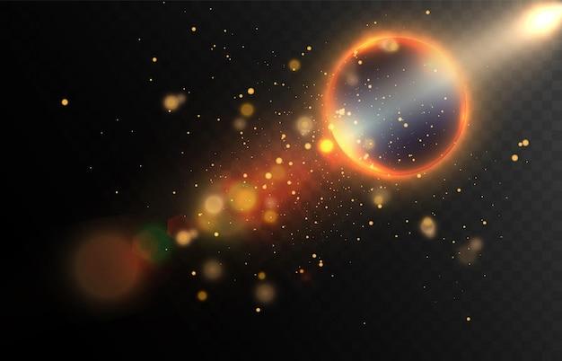 Lichteffect in de ruimte met fakkels en veel deeltjes
