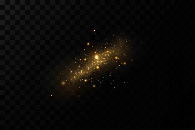 Lichteffect sprankelende magische stofdeeltjesde stofvonken en gouden sterren schitteren