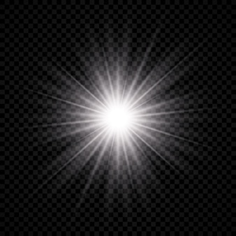 Lichteffect van lensflare. wit gloeiend licht explodeert met starburst-effecten en schittert op een transparante achtergrond. vector illustratie