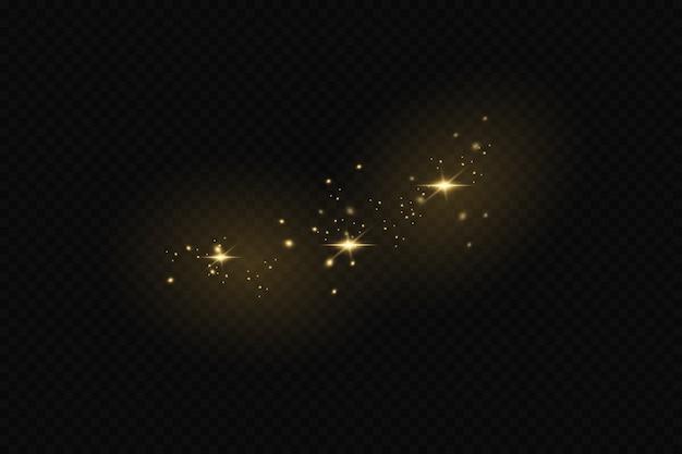 Lichteffect van stof. gouden sterren schijnen met een bijzonder licht. het licht fonkelt
