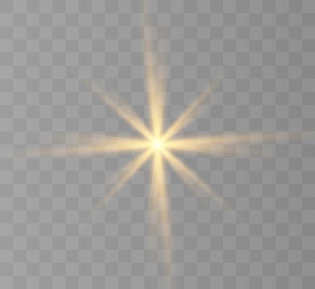 Lichteffect voor achtergronden en illustraties nieuwe ster felle zon