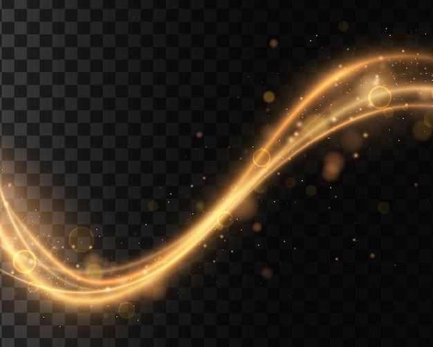 Lichteffecten, golven. gouden, glinsterende magische gouddeeltjes