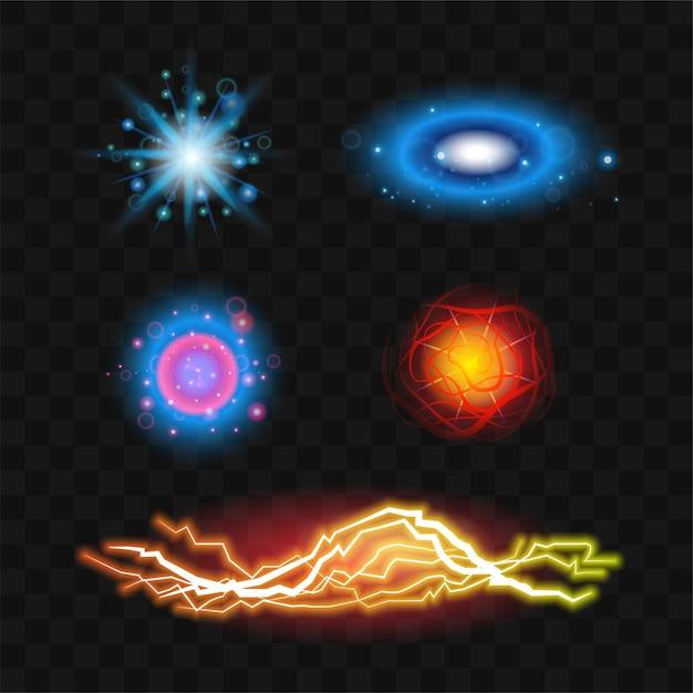 Lichteffecten - realistische moderne vectorset van verschillende ontwerpelementen. zwarte achtergrond. hoogwaardige illustraties van ruimte, vuur, bliksem, flitsbeelden. kleurrijke, heldere kosmische vormen