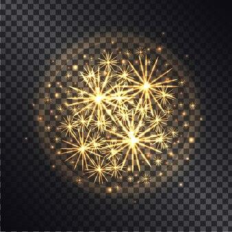Lichteffecten van brandende sterretjes in stralende cirkel met gele glitter op donkere transparant