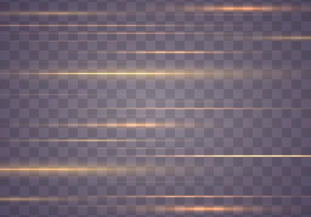 Lichteffectlijnstreep. geel pakket met horizontale lensfakkels. gloed licht flare, vonk.