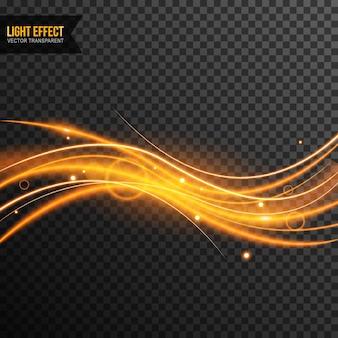 Lichteffectvector transparant met gouden fonkelingen