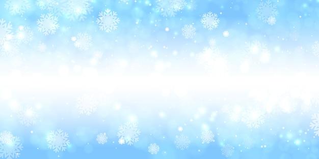 Lichten bokeh achtergrond met de vectoraffiche van de de winterpartij