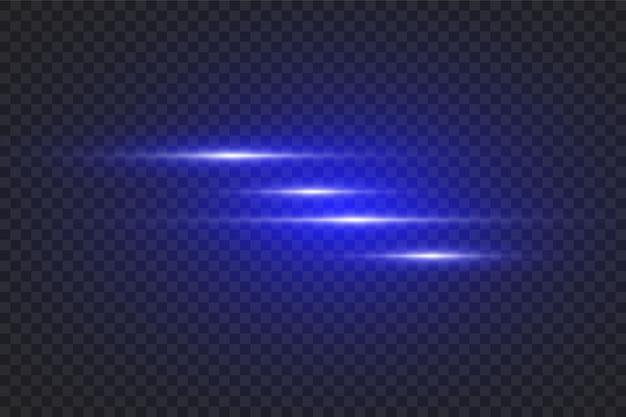 Lichten en strepen bewegen snel over een donkere achtergrond. licht effect. vervagen in stralend licht. decor element. horizontale lichtstralen.