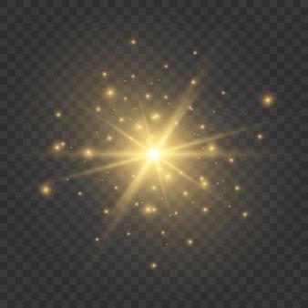 Lichten en vonken. abstracte gouden lichten geïsoleerd op transparant
