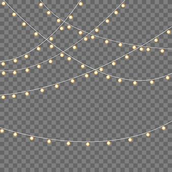 Lichten geïsoleerd op transparant. gloeiende slinger.