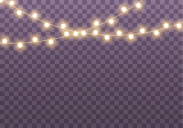 Lichten geïsoleerd op transparante achtergrond. set van gouden gloeiende garland.