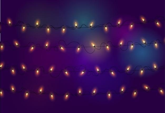 Lichten. kleurrijke heldere slinger. kleuren slingers, rode, gele, blauwe en groene gloeilampen. neon verlichte leds op transparante achtergrond. illustratie