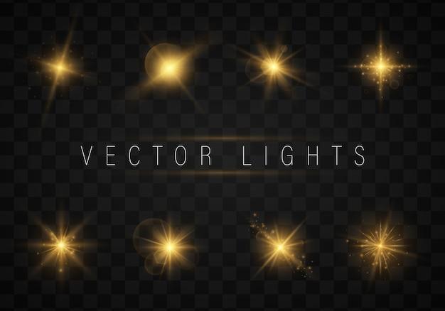 Lichten schitteren geïsoleerd, lens flare, explosie, glitter