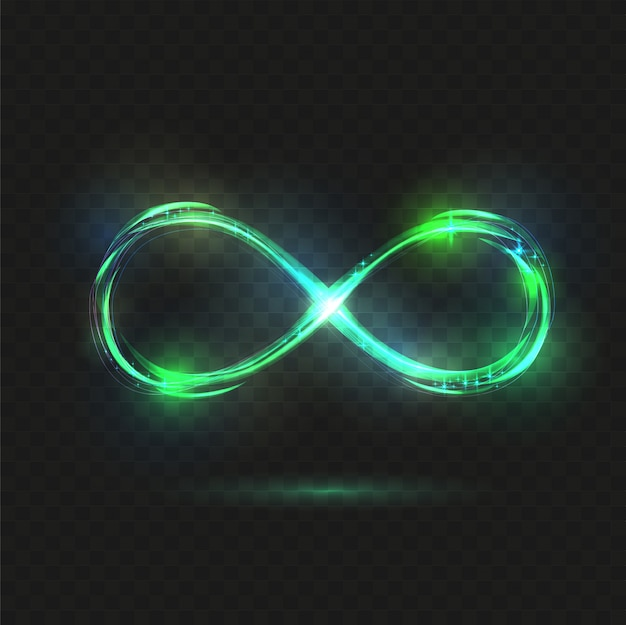 Lichtend oneindigheidssymbool. transparant glanzend oneindig.