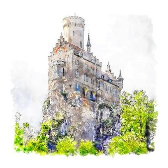 Lichtenstein castle duitsland aquarel schets hand getrokken illustratie