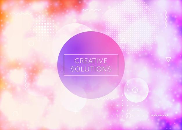 Lichtgevende achtergrond met vloeibare neonvormen. paarse vloeistof. fluorescerende hoes met bauhaus-verloop. grafische sjabloon voor brochure, banner, behang, mobiel scherm. glanzende lichtgevende achtergrond.