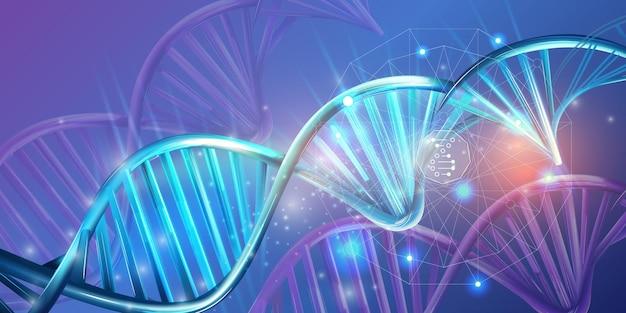Lichtgevende dubbele helix strengen van abstract dna