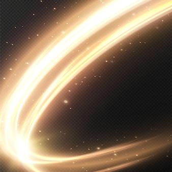 Lichtgevende gouden cirkellijnen van snelheid licht gloeiend effect abstracte beweging gouden cirkellijnen