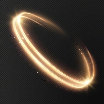 Lichtgevende gouden lijnen van snelheid licht gloeiend effect, abstracte beweging gouden lijnen kerst element.