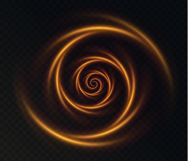 Lichtgevende gouden spiralen op een transparante achtergrond licht gouden bewegende krullen gouden abstract licht