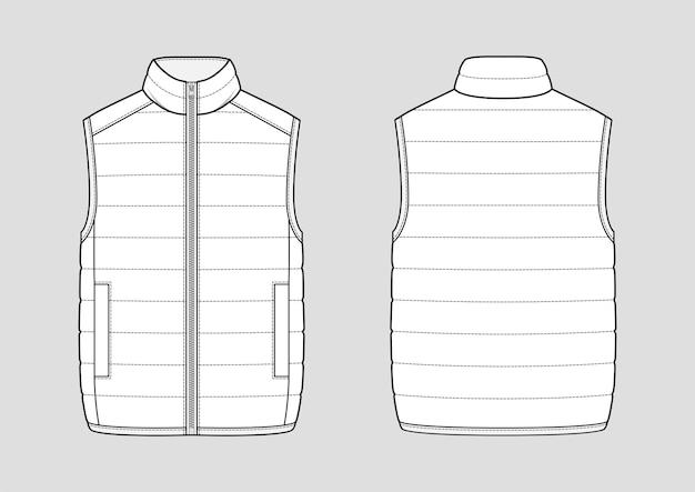 Lichtgewicht puffer gilet. gewatteerd vest. technische vector schets. mockup-sjabloon.