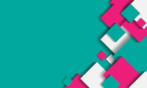 Lichtgroene abstracte achtergrond met 3d groen rood witte geometrische vierkanten vorm