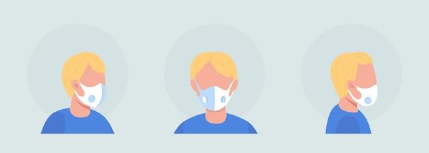 Lichtharige jongen semi-egale kleur karakter avatar met masker set