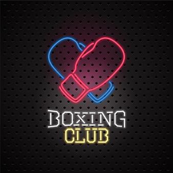 Lichtreclame voor het embleem van de boksclub