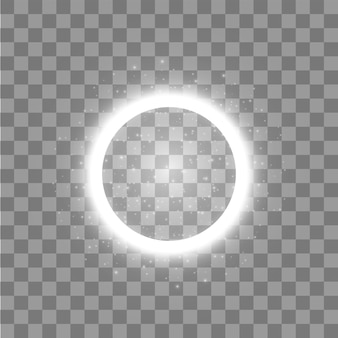 Lichtring. rond glanzend frame met lichtspoor stofdeeltjes op transparante achtergrond. concept