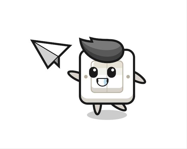 Lichtschakelaar stripfiguur gooien papieren vliegtuigje, schattig stijlontwerp voor t-shirt, sticker, logo-element