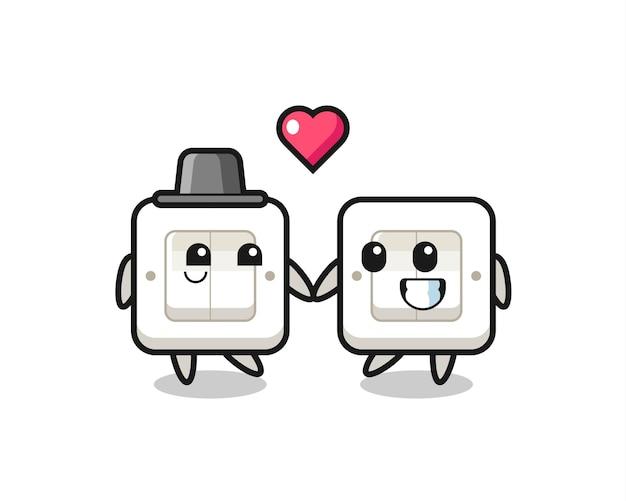 Lichtschakelaar stripfiguur paar met verliefd gebaar, schattig stijlontwerp voor t-shirt, sticker, logo-element