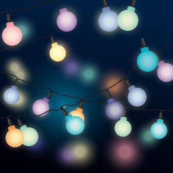 Lichtslingers in de nachtillustratiebanner illustration