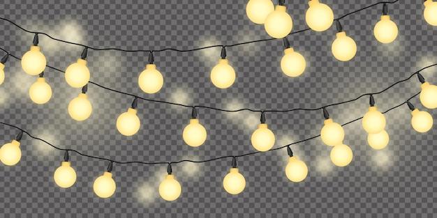 Lichtslingers in de nachtillustratiebanner illustration Premium Vector